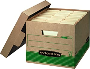 Bankers Box STOR/File Medium-Duty Storage Boxes, FastFold, Lift-Off Lid, 100% Recycled, Letter/Legal, Value Pack of 20 (1277008)