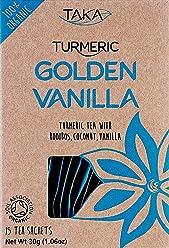 Taka Turmeric Organic Golden Vanilla Tea, Pack of 15 Teabags, Pack of 4