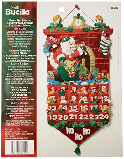 "Must Be Santa Advent Calendar Felt Applique Kit-13"" ..."