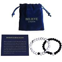 Believe London Distance Bracelets de Sac de Bijoux Carte de Signification   Fort élastique   Amitié Relation Couples Son Ses   Howlite Blanc Agate Onyx Noir