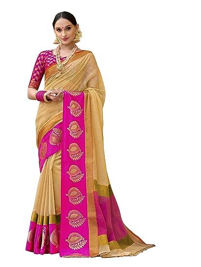 c38bf1de80 Taanshi Self Design Kanjivaram Cotton Silk Saree (Yellow) 7011: Amazon.in:  Clothing & Accessories