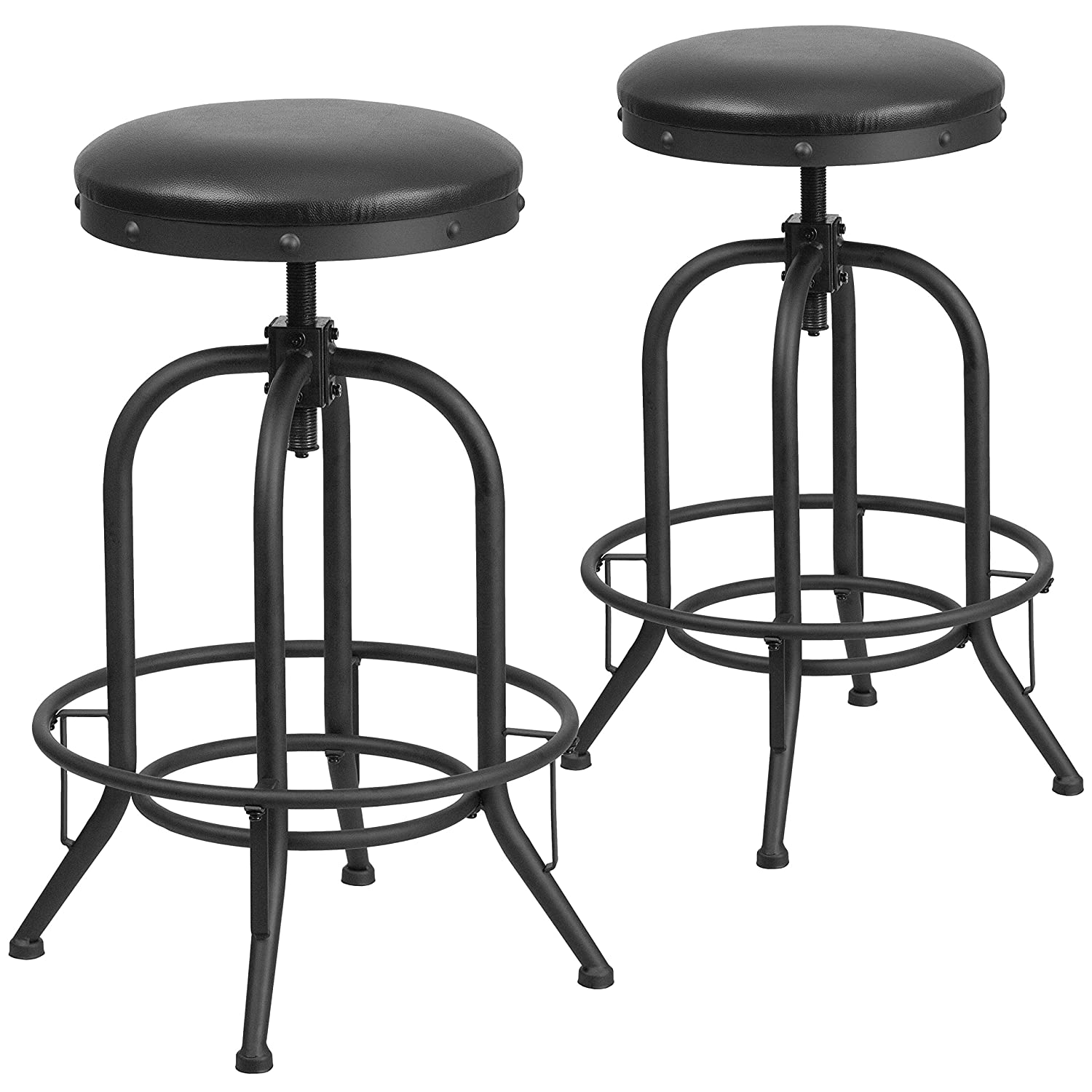 Flash Furniture 2 Pk. 30'' Barstool with Swivel Lift Black Leather Seat