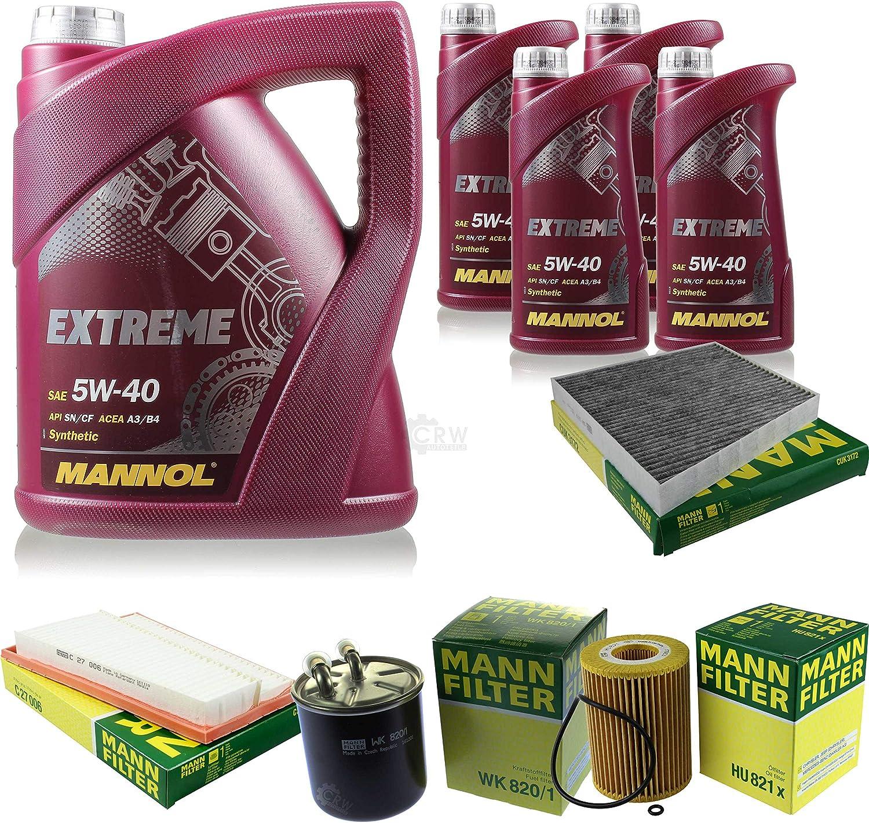 Filter Set Inspektionspaket 9 Liter Mannol Motoröl Extreme 5w 40 Api Sn Cf Mann Filter Luftfilter Innenraumfilter Ölfilter Kraftstofffilter Auto
