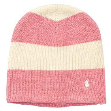 Polo Ralph Lauren Rugby Striped Wool Blend Slouchy Hat (Ivory(0372) Pink 91a3698d3