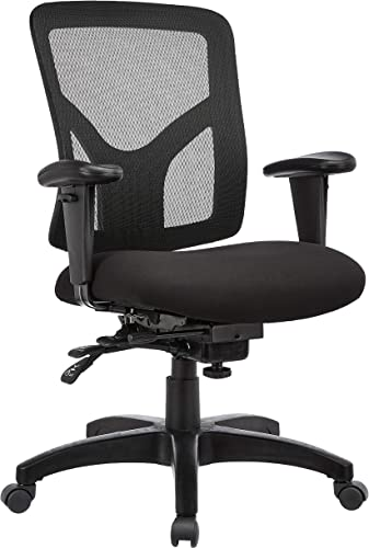 JC Home Manager s Chair with Adjustable Arms, Black