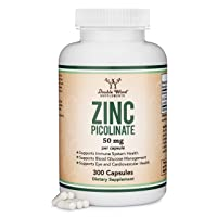 Zinc Picolinate 50mg, 300 Capsules (Immune Support for Kids and Adults) Non-GMO, Gluten Free, Made in The USA (300 Day Supply) by Double Wood Supplements