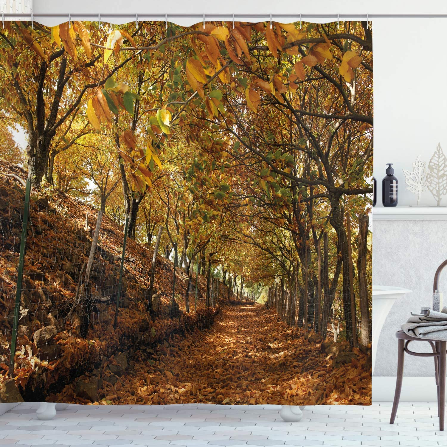 "Ambesonne Nature Shower Curtain, Autumn Foliage Forest with Deciduous Trees Faded Fall Leaves Surreal Image, Cloth Fabric Bathroom Decor Set with Hooks, 70"" Long, Marigold Amber"