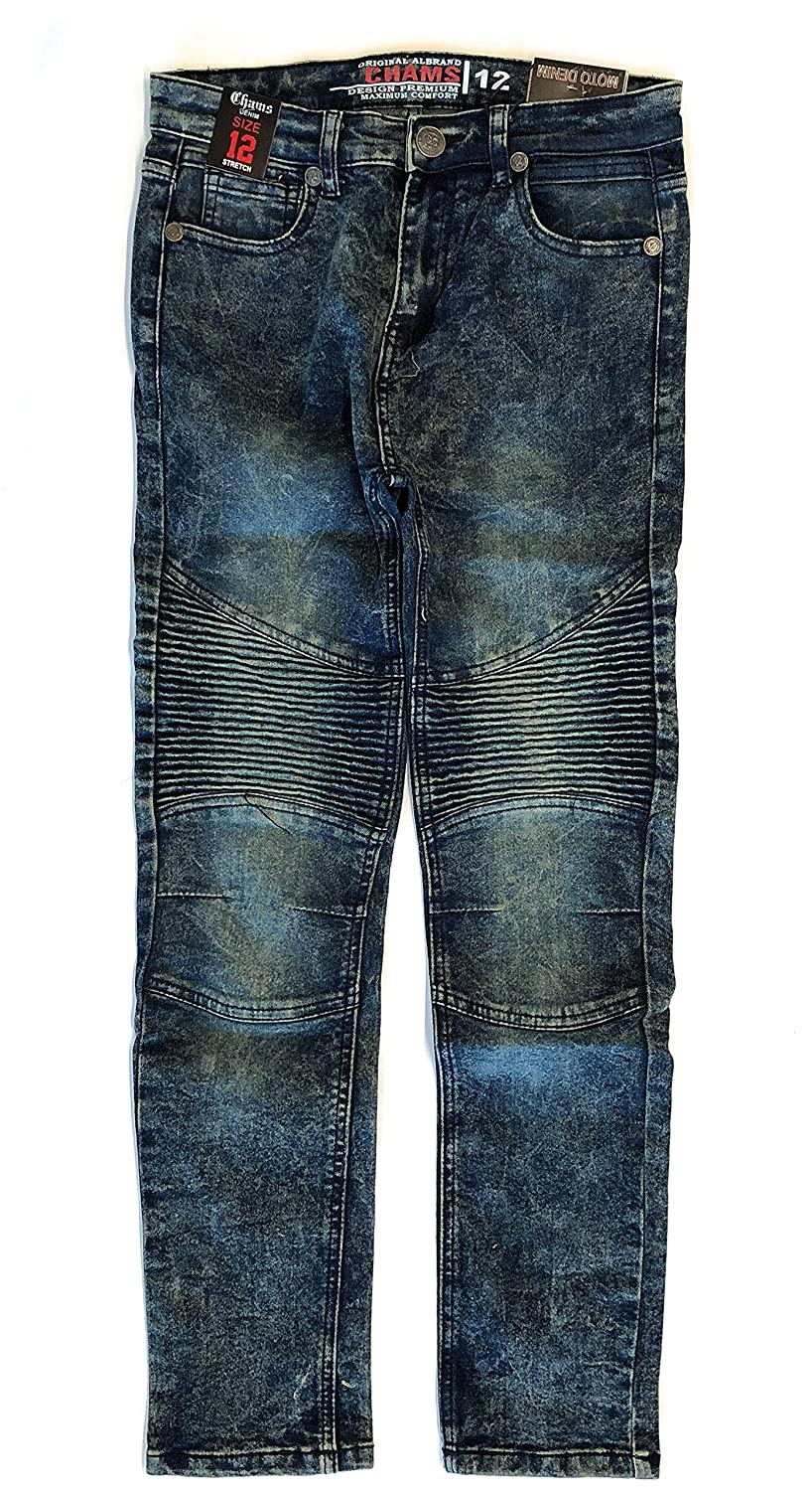 Chams Boy's Moto Washed Sand Blasted Denim Jeans