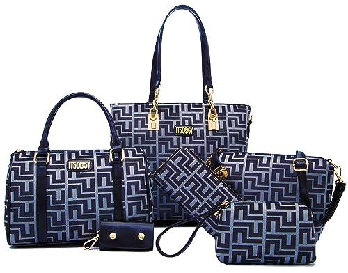 Womens 6 Pcs Lightweight Tote Work Bag Handbag and Purse Set