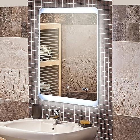 KROLLMANN Badspiegel Mit LED Beleuchtung / Badezimmer Spiegel Beleuchtet  Mit Touch Sensor Und Digitaluhr, 50