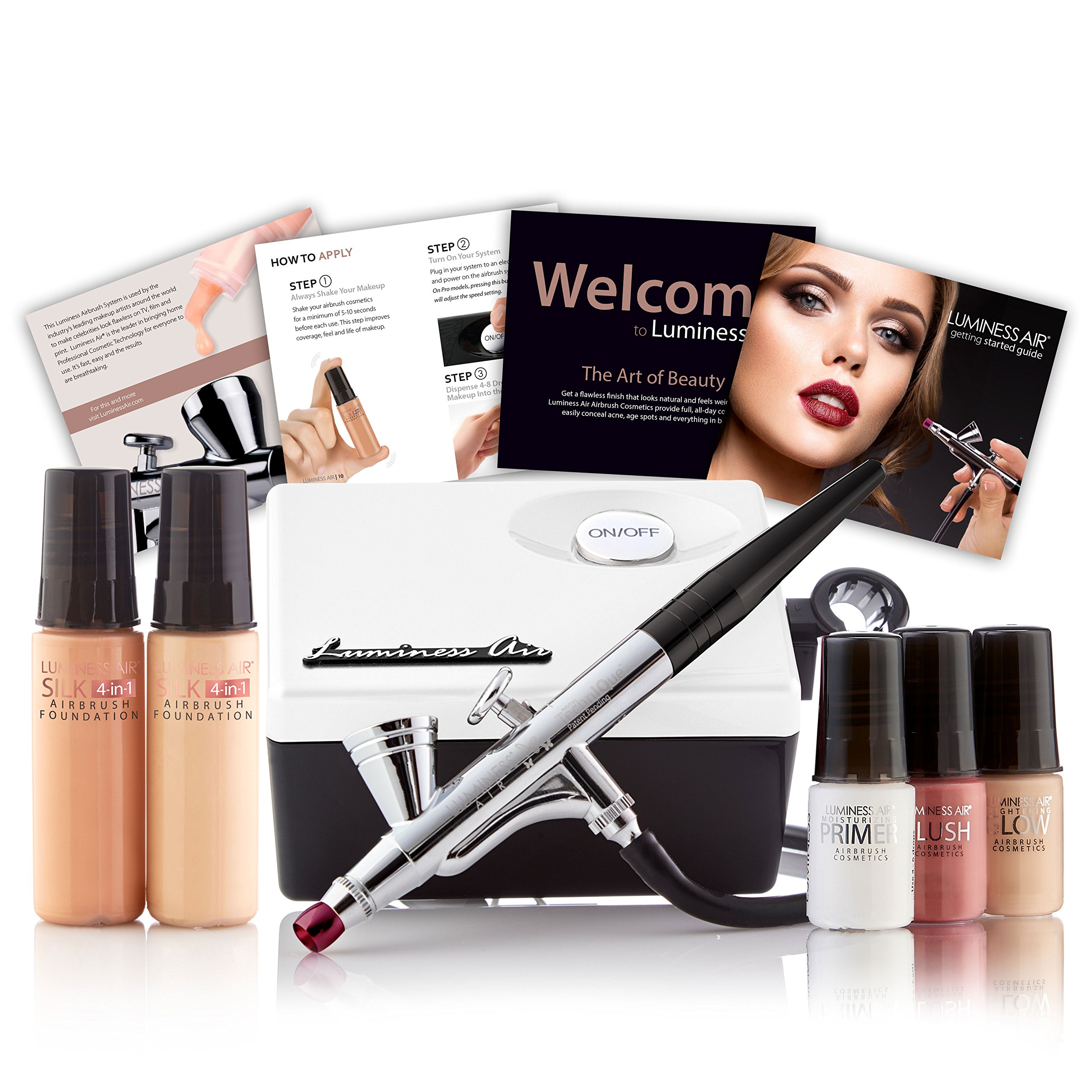 Luminess Air White & Black Legend Airbrush System with 5-Piece Silk 4-IN-1 Deluxe Airbrush Foundation & Cosmetic Starter Kit, Fair