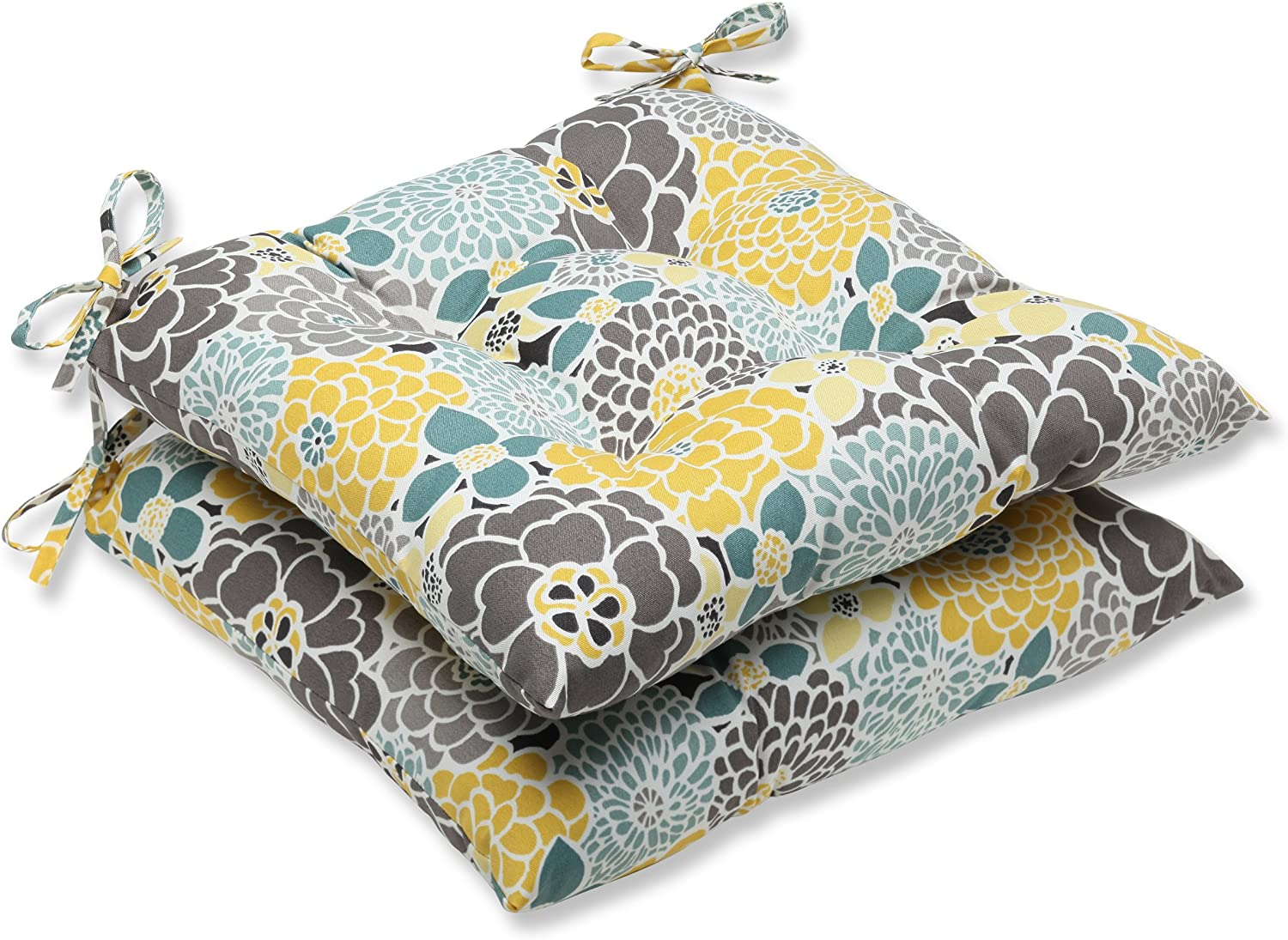 """Pillow Perfect Outdoor/Indoor Lois Vapor Tufted Seat Cushions (Square Back), 19"""" x 18.5"""", Blue, 2 Pack"""