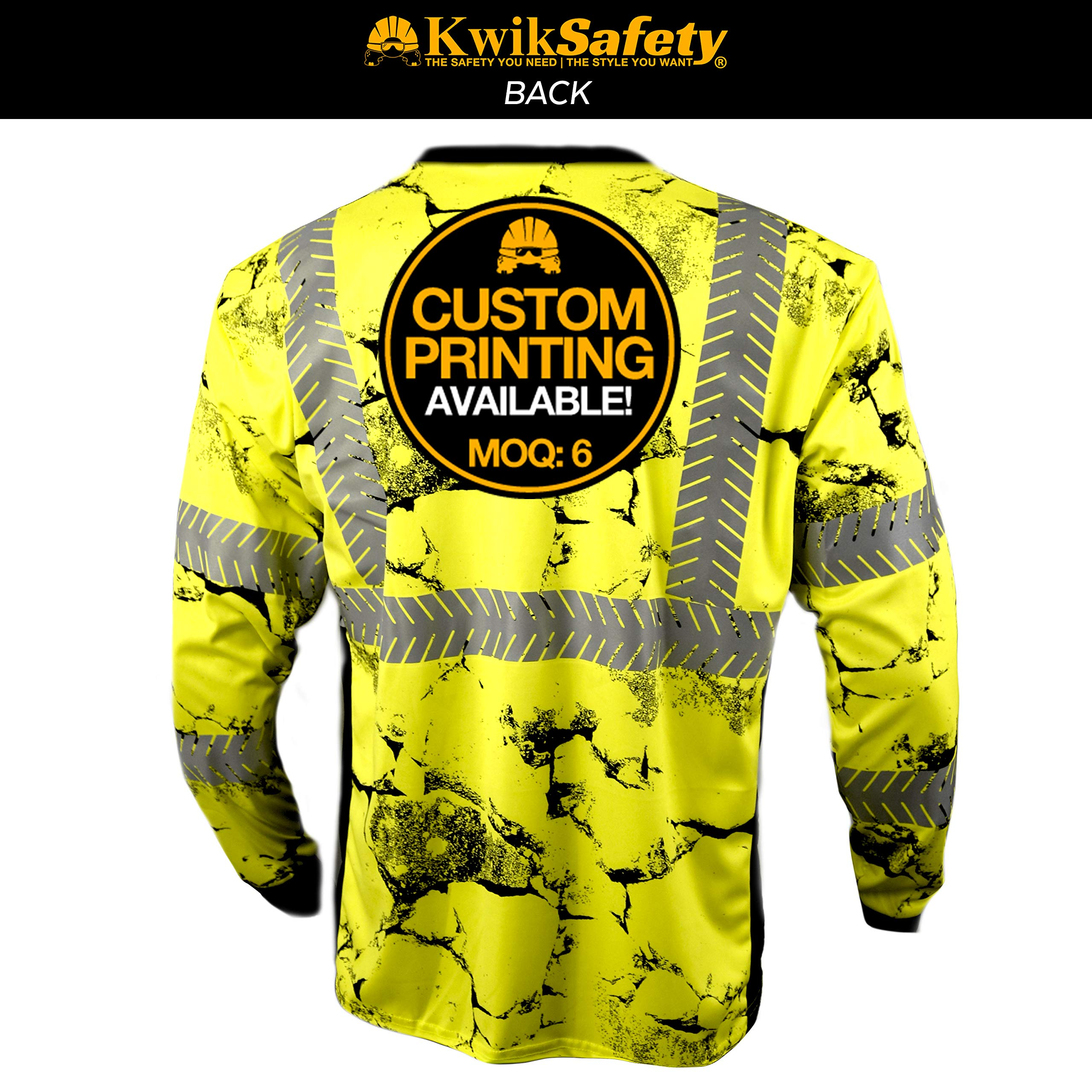 KwikSafety (Charlotte, NC) UNCLE WILLY'S WALL (Chest Pocket) Class 3 ANSI High Visibility Safety Shirt Fishbone Reflective Tape Construction Hi Vis Clothing Men Long Sleeve Camo Yellow Black 2XL by KwikSafety (Image #3)