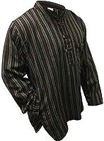 Multi color mix dharke Stripes light weight comfy long sleeves traditional Grandad Shirt,hippy boho,s m l xl xxl xxxl