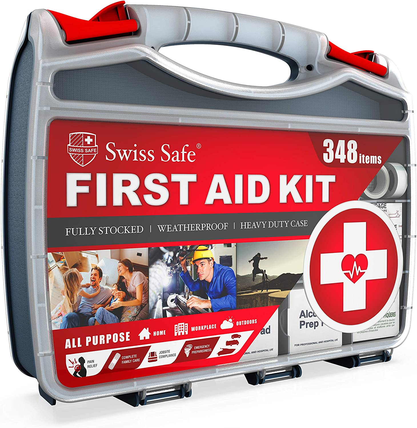 2-in-1 First Aid Kit (348-Piece) 'Double-Sided Hardcase' + Bonus 32-Piece Mini Kit: Perfect for Home & Workplace Safety [50 Person Kit]: Health & Personal Care