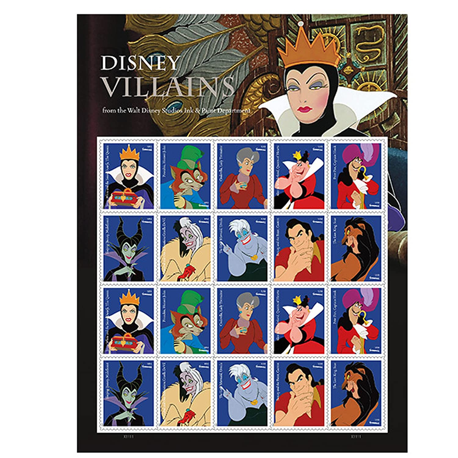 Walt Disney Villains Sheet of 20 Forever USPS First Class one Ounce Postage Stamps Party Celebration Wedding