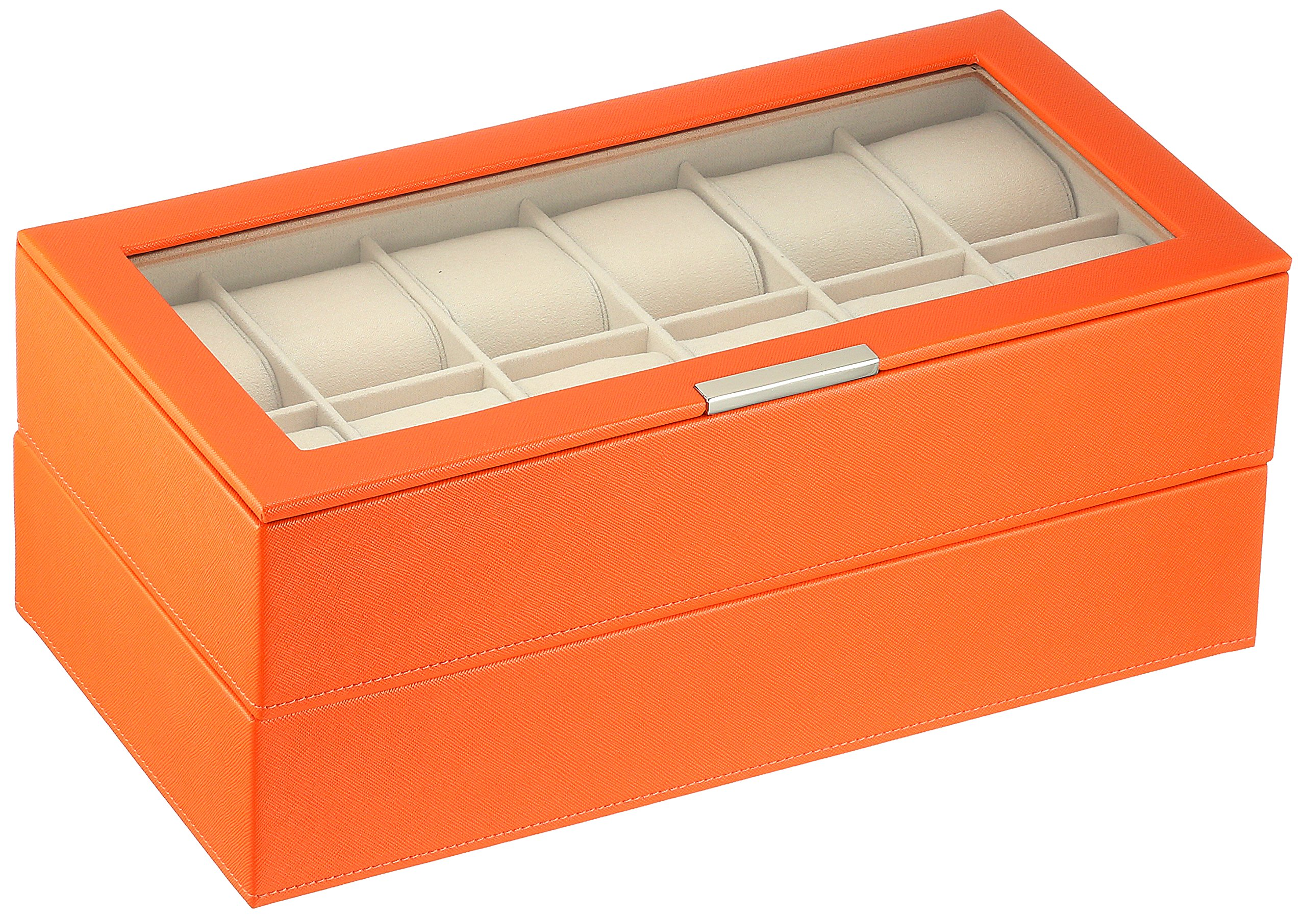 WOLF 319739 Stackable Set of 2 - 12 Piece Watch Trays, Orange