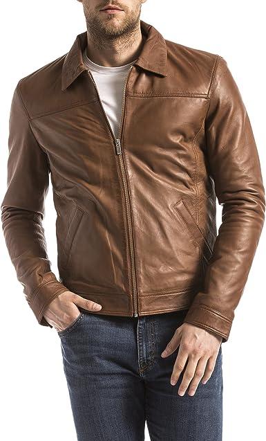 BLUE WELLFORD Leather Jacket Men Camel