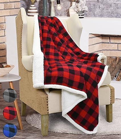 c8dc1f4598 Amazon.com  Catalonia Red Plaid Sherpa Throw Blanket