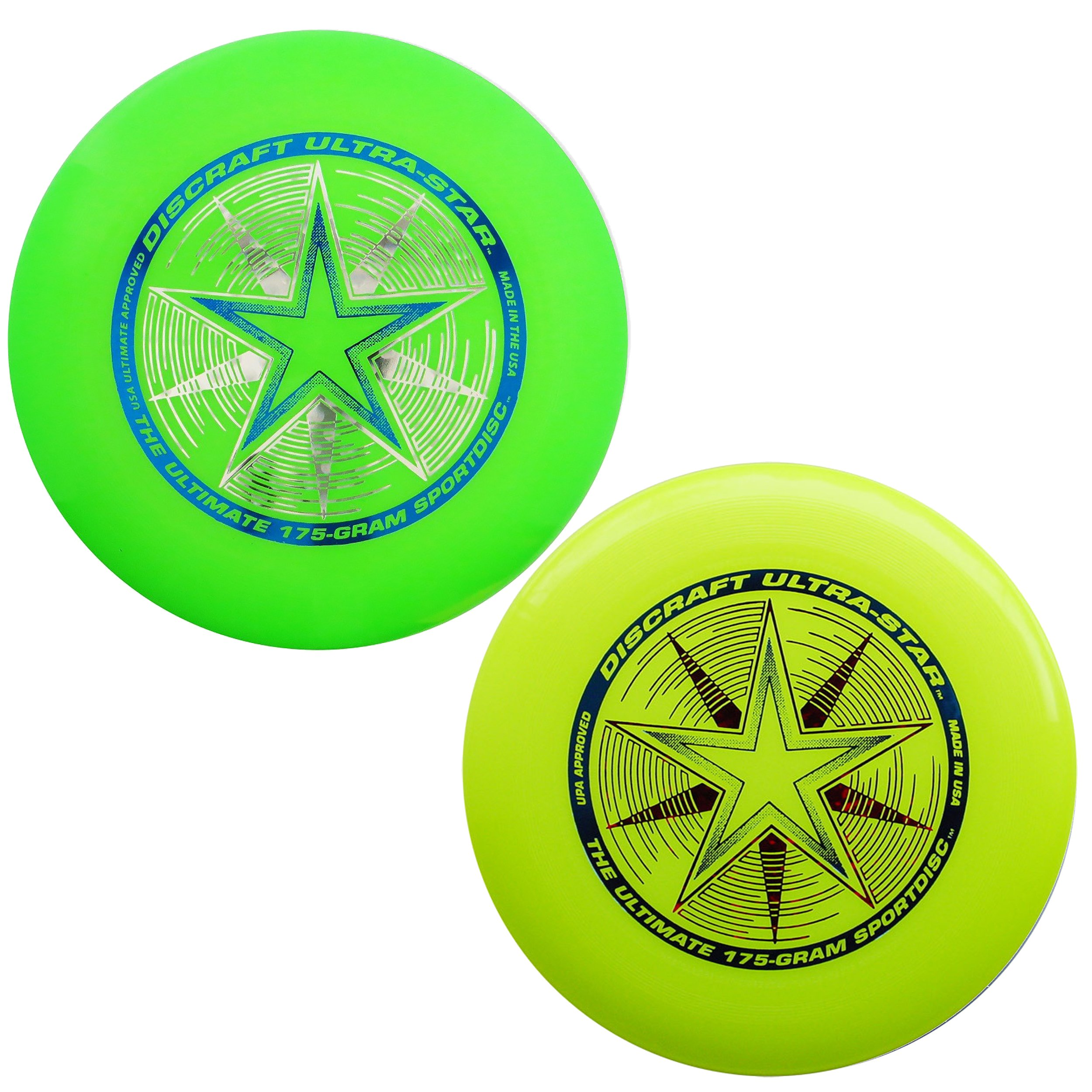 Discraft 175 gram Ultra Star Sport Disc - 2 Pack (Yellow & Green) by Discraft