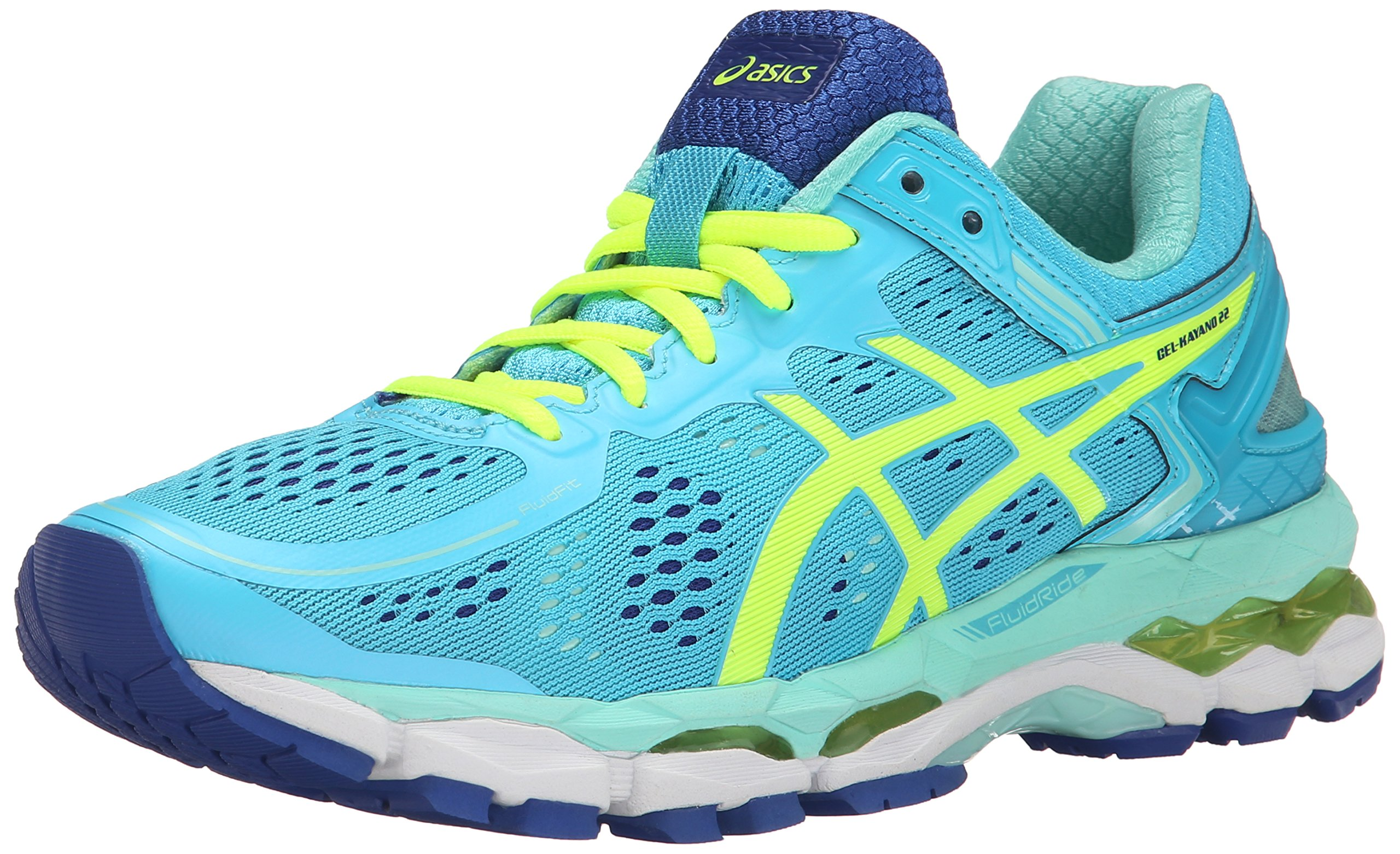 ASICS Women's Gel Kayano 22 Running Shoe, Ice Blue/Flash Yellow/Blue, 7.5 M US