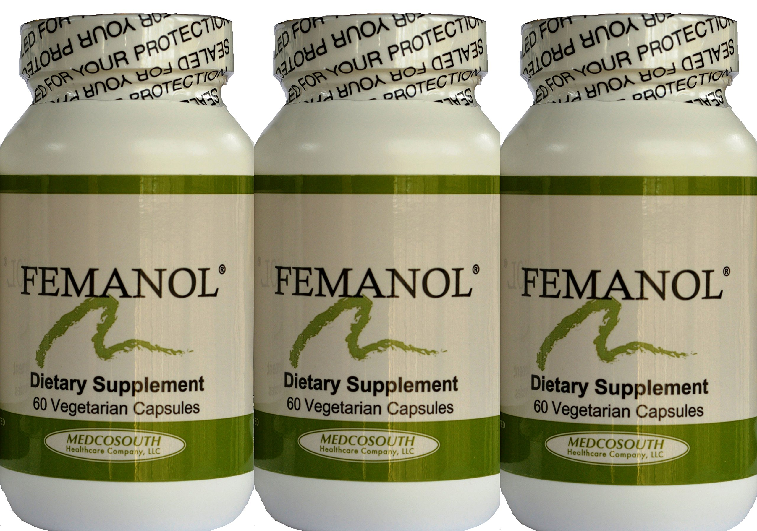 Femanol (3) Bottles 60/count Supports Normal Healthy Feminine and Vaginal Odor by MedcoSouth