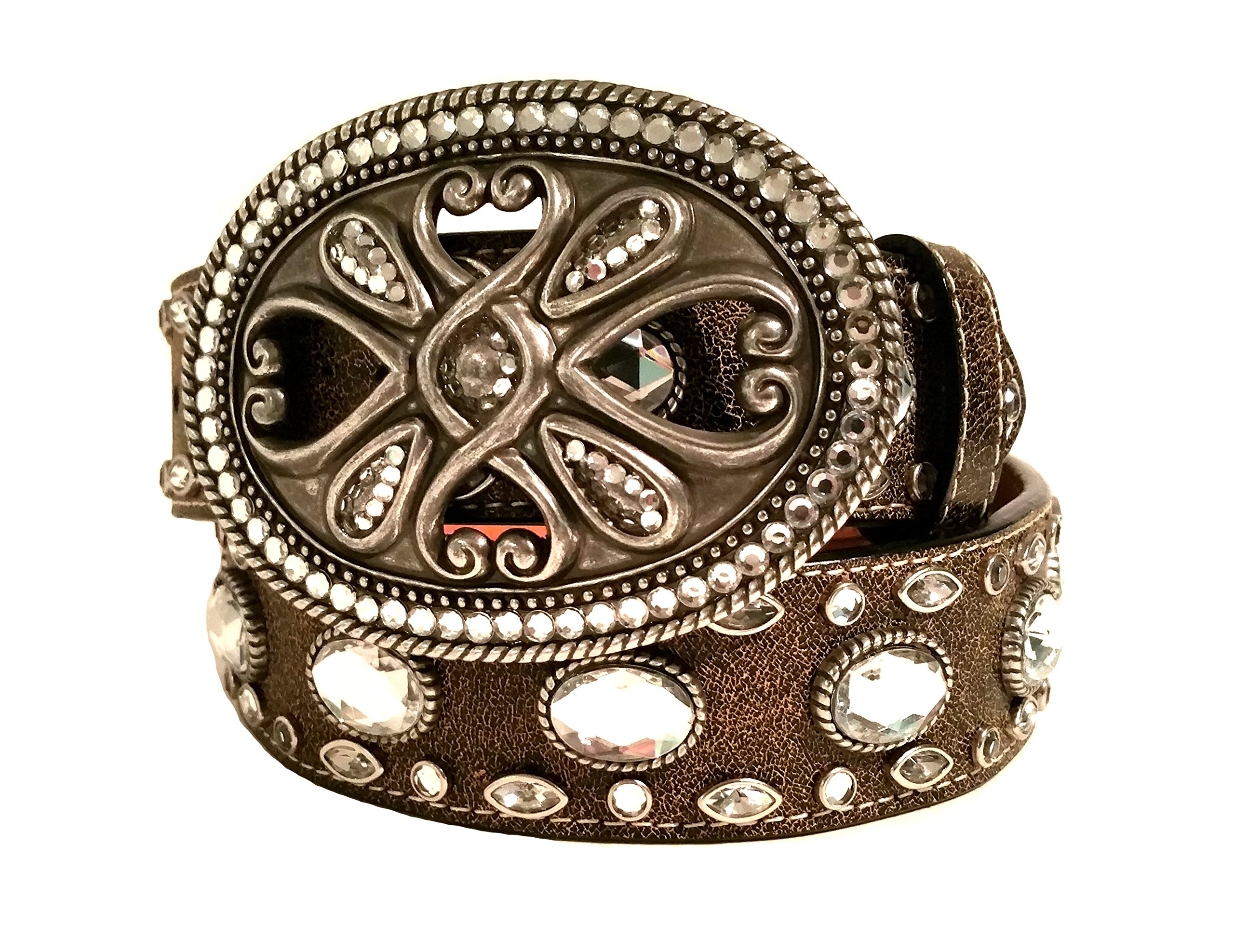 3D Belt Belt style 960 Brown with Clear Stones by 3D Belt Company