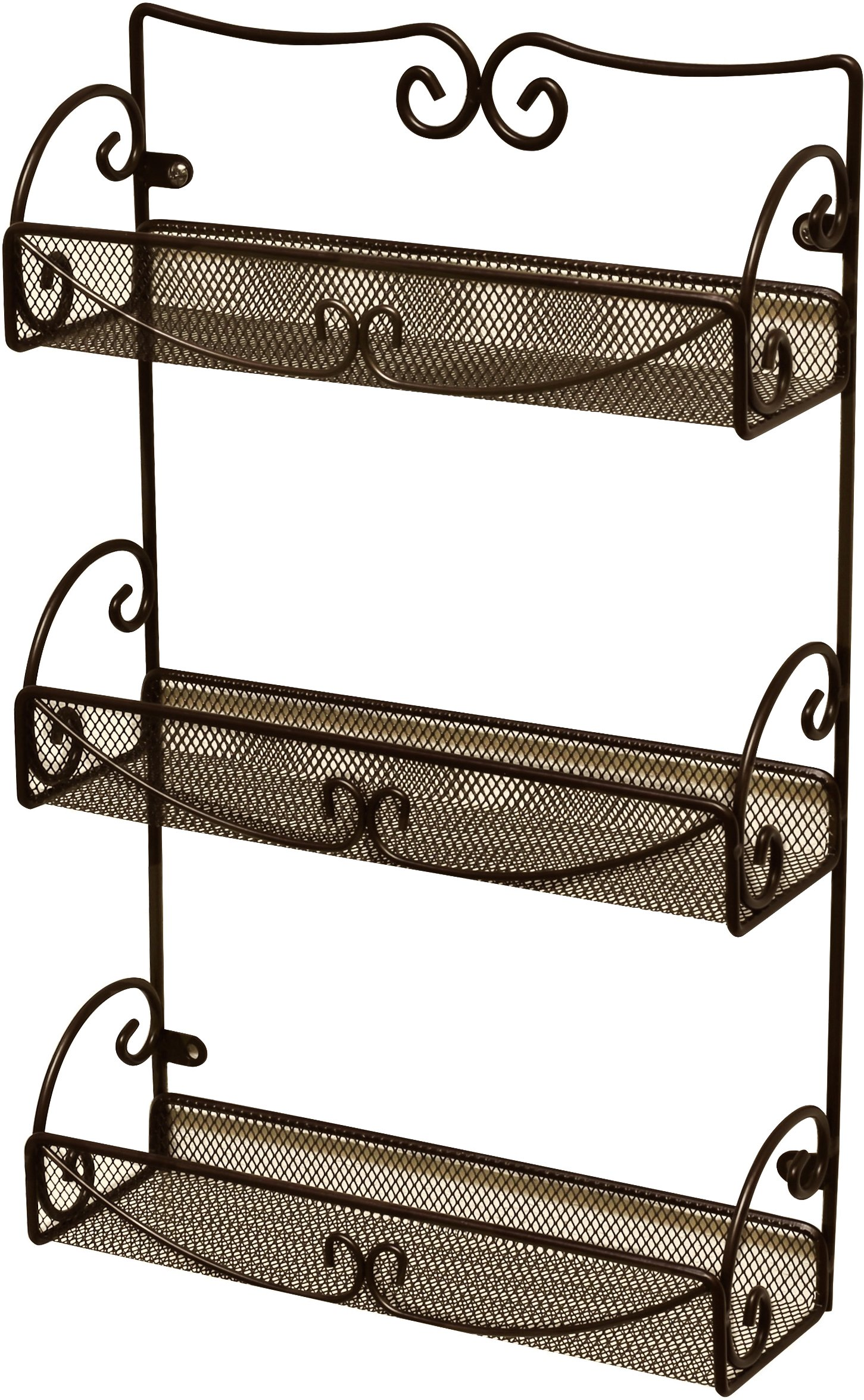 DecoBros 3 Tier Wall Mounted Spice Rack, Bronze by Deco Brothers