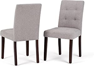Simpli Home Andover Contemporary Parson Dining Chair (Set of 2) in Cloud Grey Linen Look Fabric