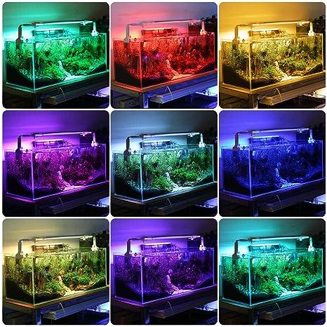 Lámpara Acuario Luces Impermeable LED para Acuarios de Peces y Estanques 16 Colores Aluminio Acrílico Vidrio