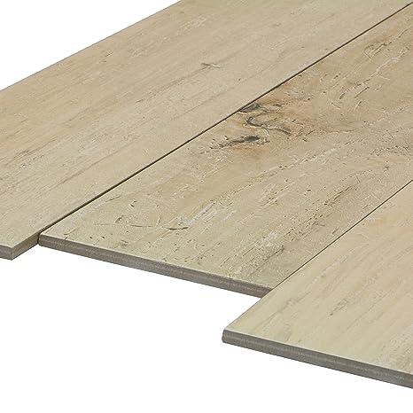 Feinsteinzeug Fliesen in Holzoptik 1 m/² Wood Almond Bodenfliesen 15,0x60,8 cm