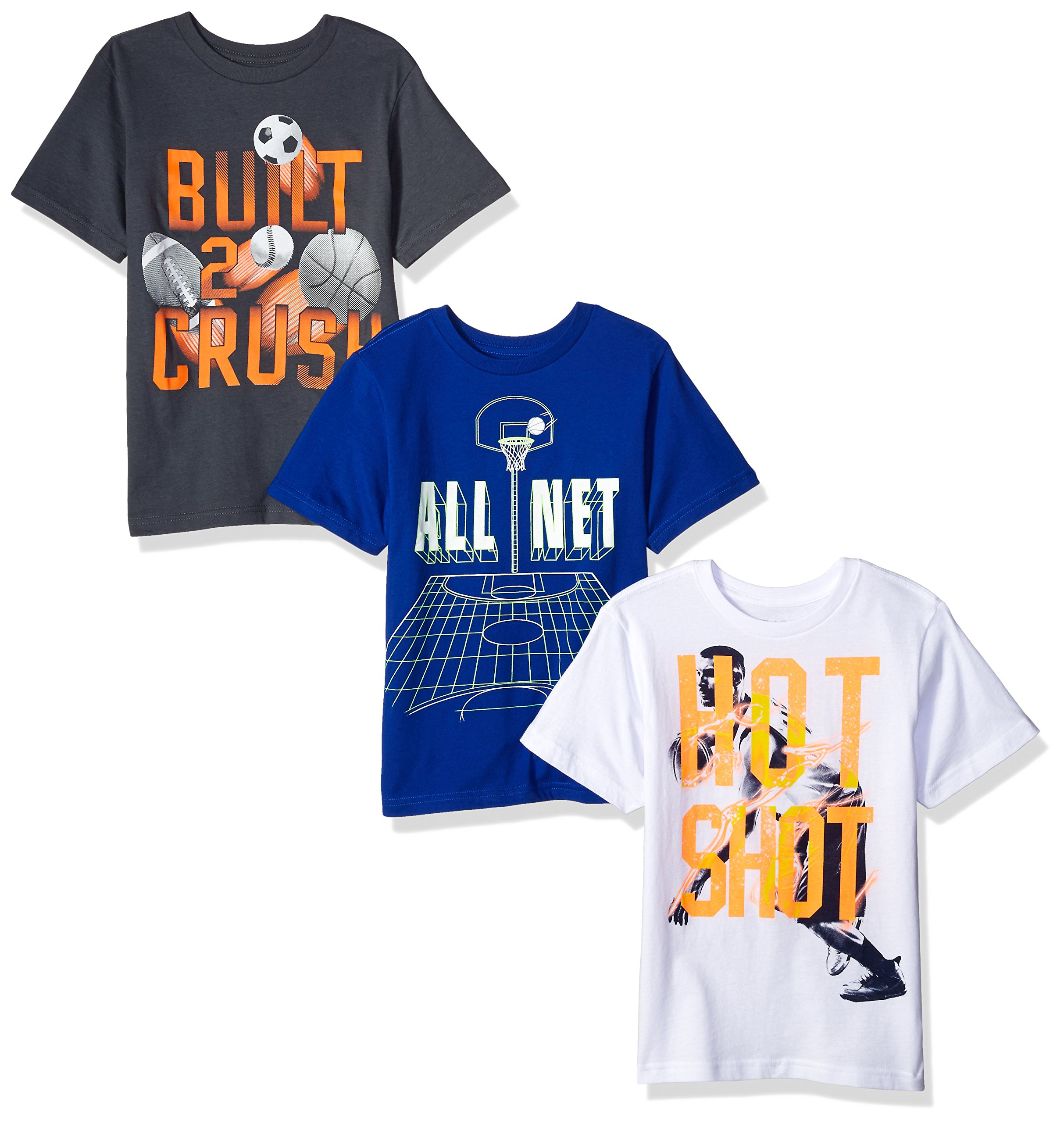 The Children's Place Big Boys' Sports Theme Tees (Pack of 3), Sports Multi, S (5/6)