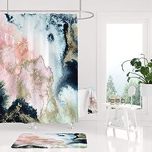 43LenaJon Shower Curtains, Abstract Modern Art, Blue Navy Pink, Gold Watercolor Bathroom Decor, Marble Housewarming Gift