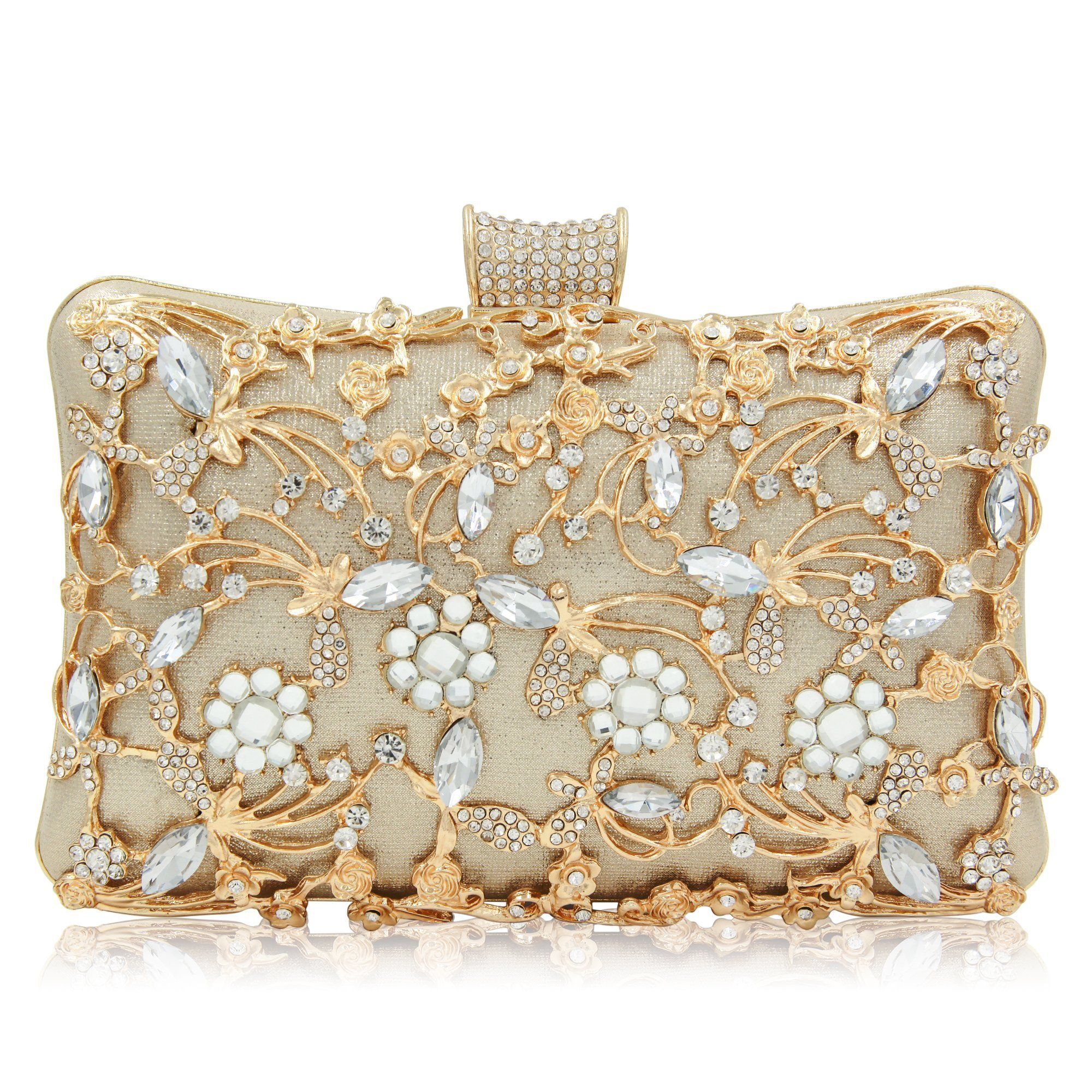 Glitter Crystal Clutches Bridal Evening Bags And Clutches For Women Large Handbag Clutch Purse With Strap (Gold)