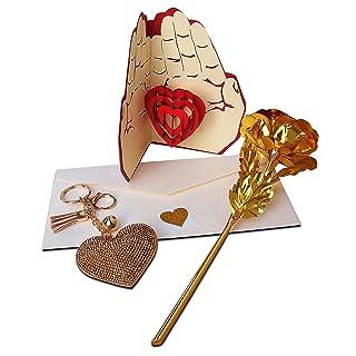Oro rosa fiore di lusso con auguri pop up 3D cute Love Heart portachiavi romantico set con sigillo lucido cuore fatto a mano e crema busta Love Gift Kirigami San Valentino, anniversario, regalo di compleanno per il suo amore per le donne regali