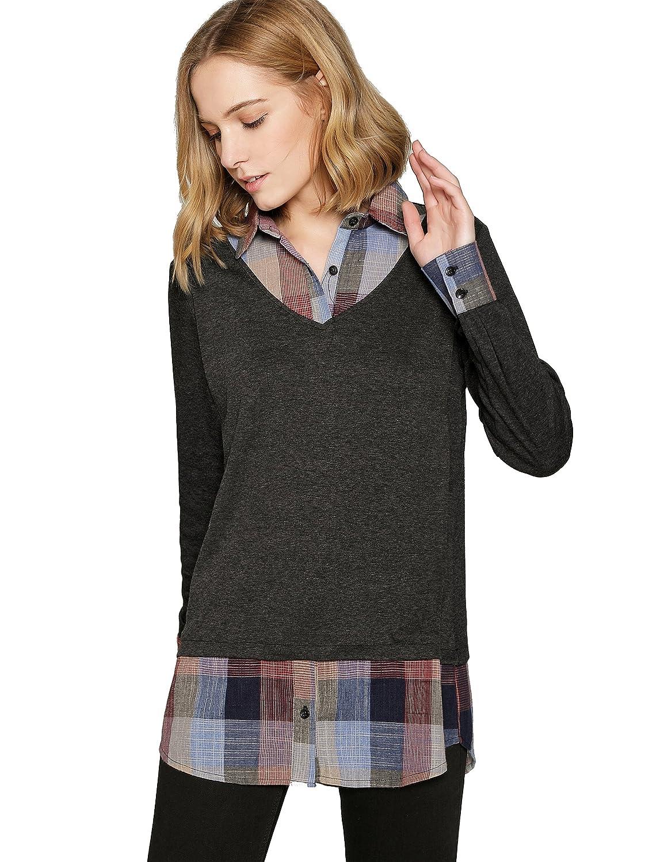 Missactiver Women's Sweatshirt Pullover Layered Twofer Work Shirt Knit Jumper Sweater