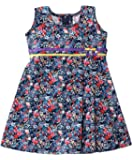 Mom's Girl Frock navyblue floral casual girls dress cotton with bows