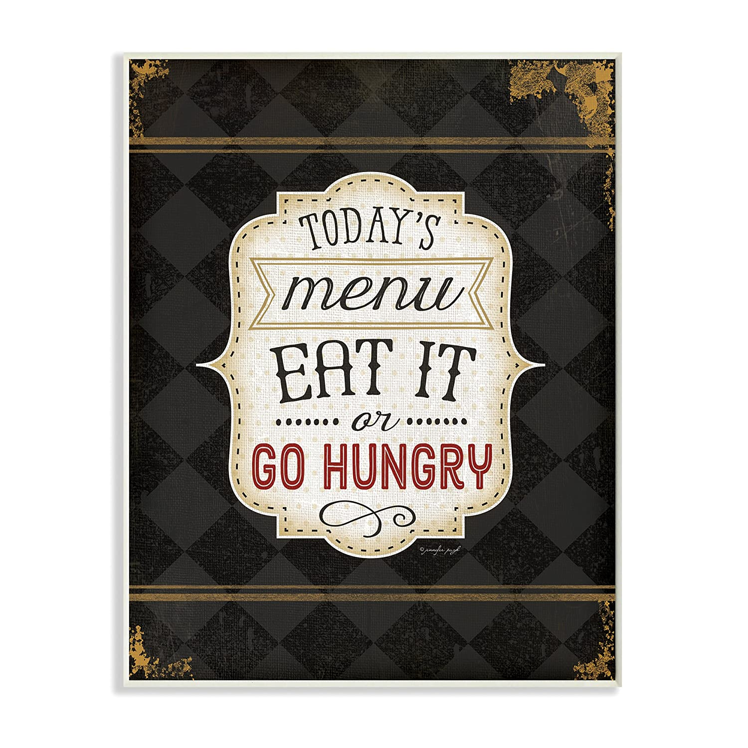 Proudly Made in USA 10 x 0.5 x 15 Stupell Home D/écor Todays Menu Eat It Or Go Hungry Graphic Art Wall Plaque