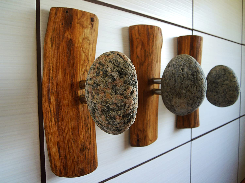 3 pcs Stone hooks, coat tree, coat rack, wall mounted coat rack, rustic towel hook, bathroom shelf, coat hanger, wall hooks, towel hooks hall tree