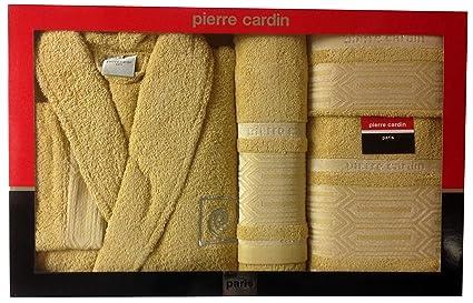 L/XL azteca Beige bloques de Pierre Cardin 4 piezas Albornoz y toalla juego,
