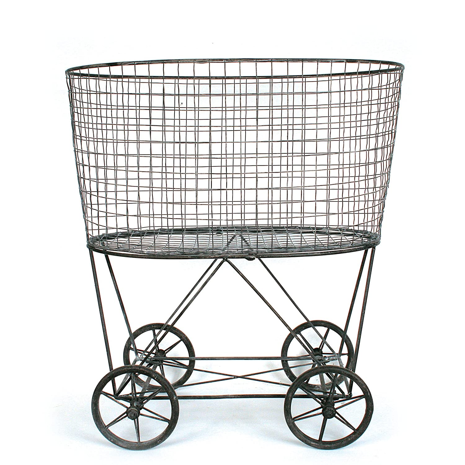 Vintage style metal laundry basket with wheels - perfect for a French country or European farmhouse room.