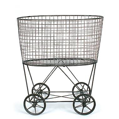 Creative Co-op DE2757 Vintage Metal Laundry Basket with Wheels