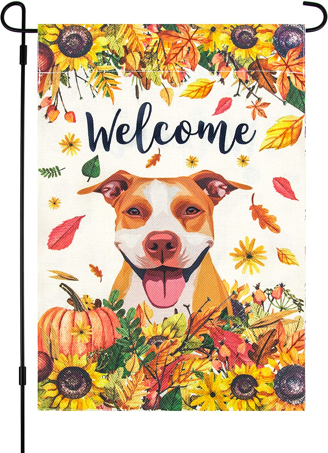 MARMIE Fall Garden Flag with Pitbull Dog, 12 x 18 Inch, Welcome, Brown American Pit Bull Terrier, Staffordshire Bull Terrier, Autumn, Halloween, October, Sunflowers, Thanksgiving Decor, Yard Flag