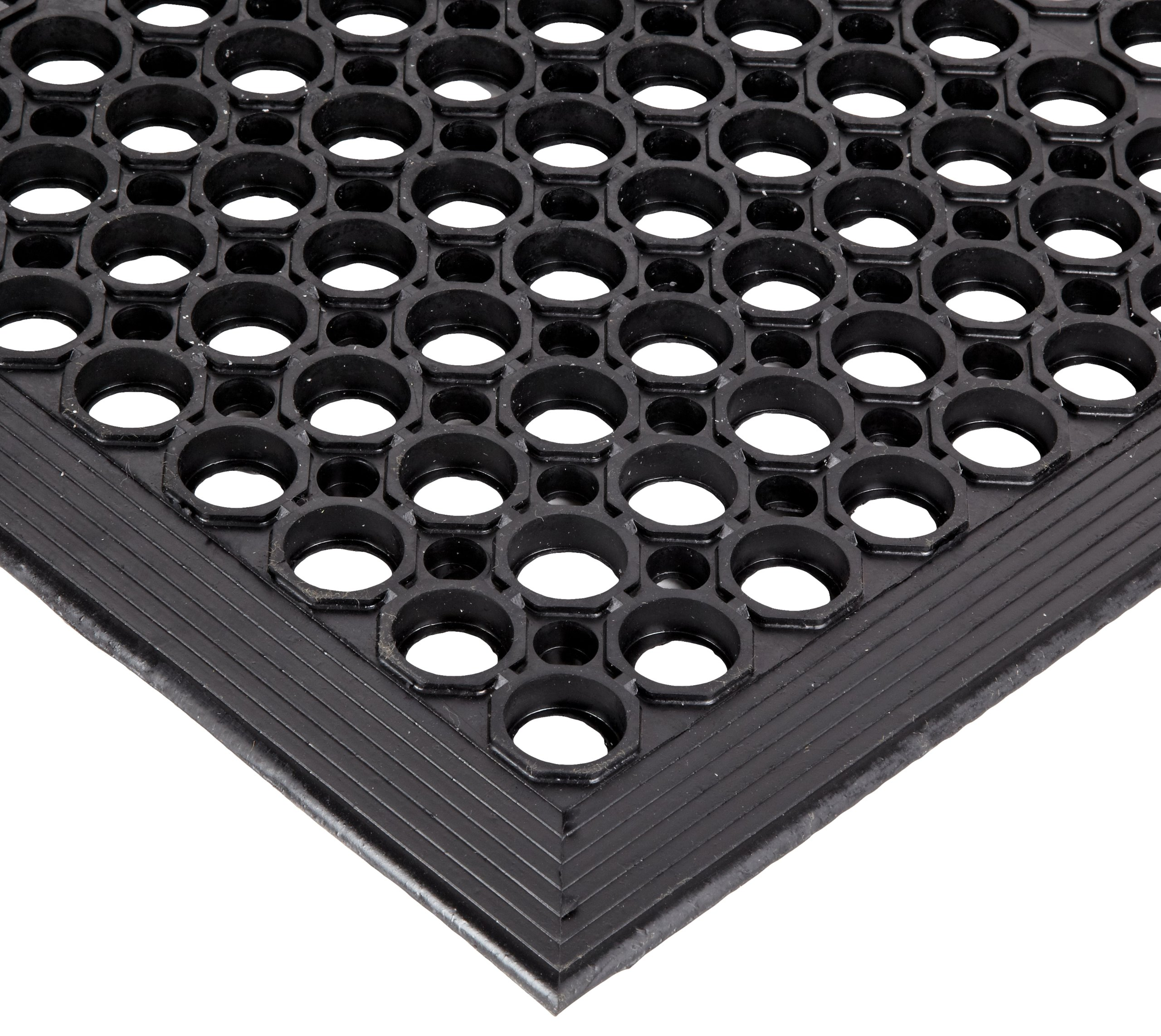 NoTrax Rubber 562 Sanitop Anti-Fatigue Drainage Mat, for Wet Areas, 3' Width x 10' Length x 1/2'' Thickness, Black