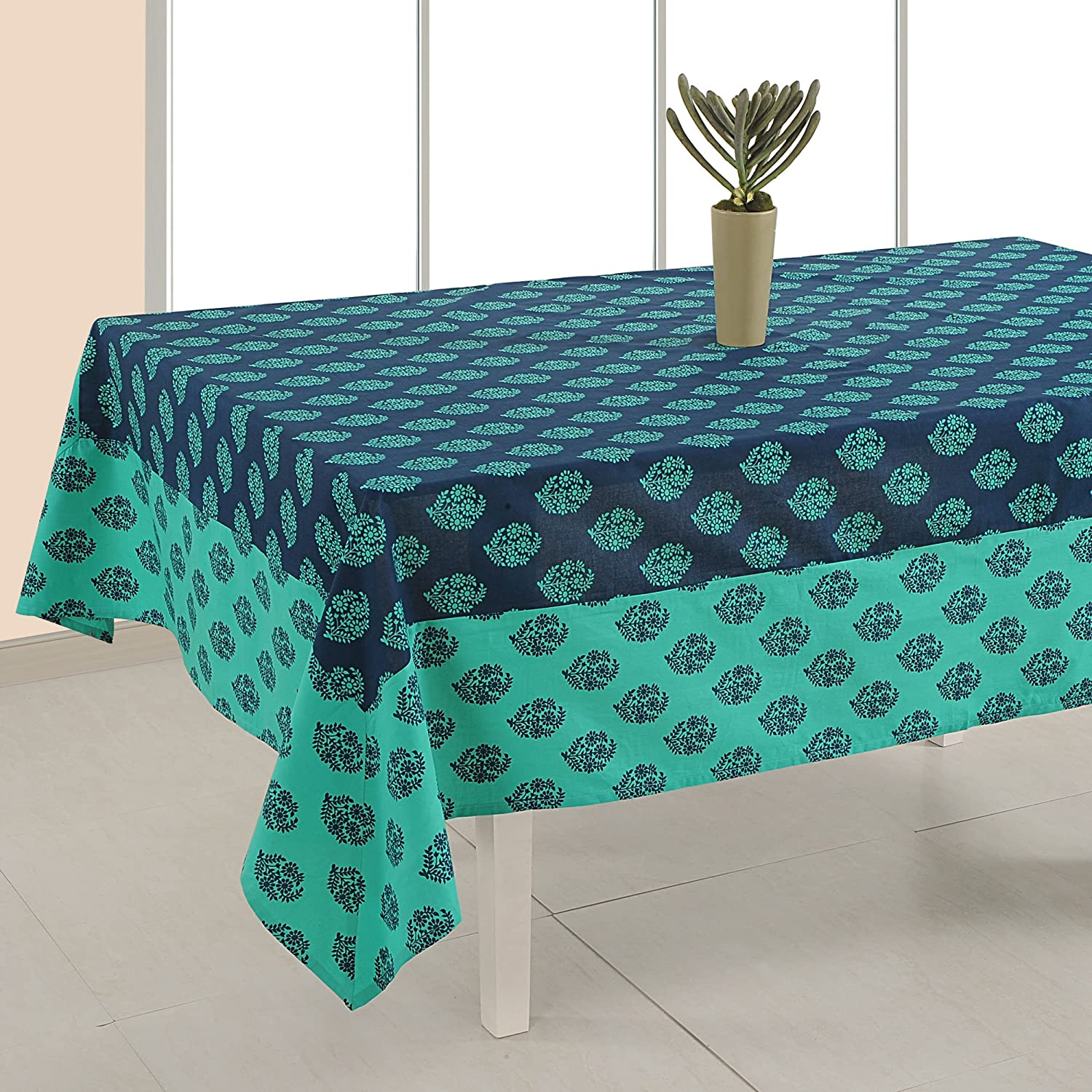 ShalinIndia Indian Table D/écor Cotton Floral Print 54 Inches Square Tablecloth 4 Seater ShalinCraft MN-ZTCS01-6302