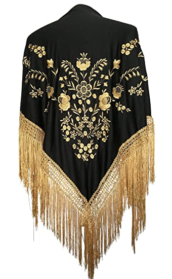 1920s Shawls, Scarves and Evening Jacket Tips La Senorita Spanish Flamenco Dance Shawl black golden flowers and fringes $29.99 AT vintagedancer.com