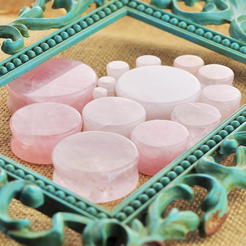 ArcticBuffalo Pair Genuine Rose Quartz Organic Natural Polished Stone Ear Gauges Plugs Saddle