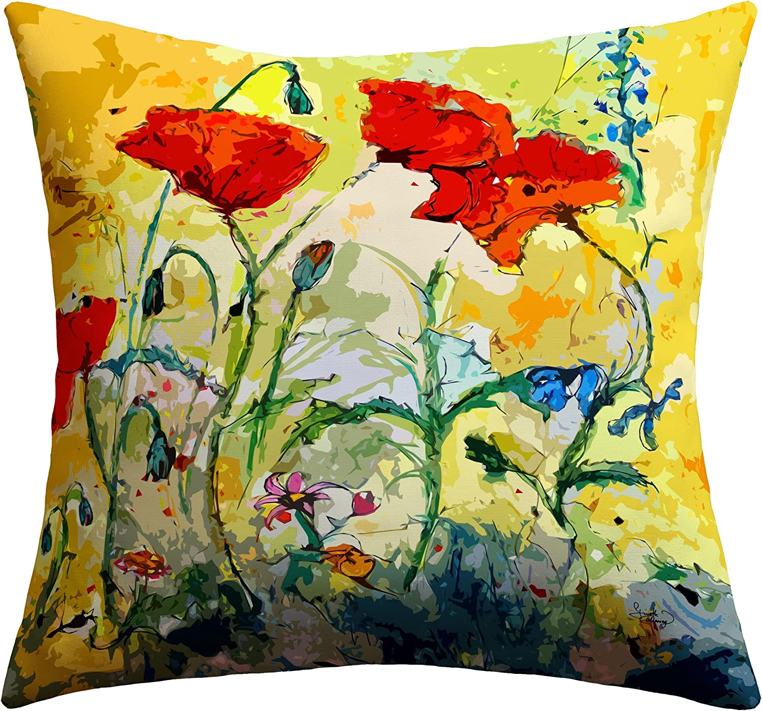 Deny Designs Ginette Fine Art Poppies Provence Outdoor Throw Pillow, 16 x 16