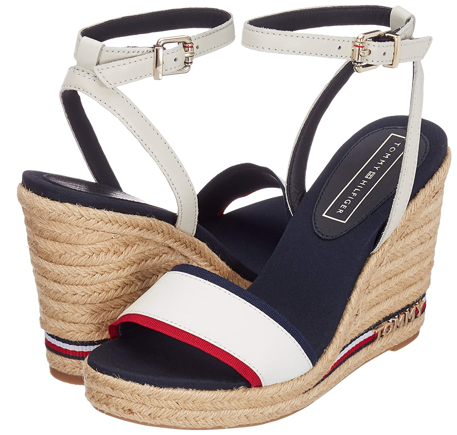 32b3f494d4 Amazon.com | Tommy Hilfiger Iconic Elena Corporate Ribbon Womens Wedge  Sandals in White Navy Red - 36 EU | Shoes