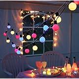 Outdoor - Lichterkette - Gesamtlänge über 10 Meter - Garten Balkon Terrasse Sonnenschirm Party - XL Beleuchtung - Angenehm heitere (aber nicht grelle) bunte Outdoor - Lichterkette mit 20 Lampen - Farbe : BUNT - sparsame LED Technik - inklusive Außen-Trafo, Gesamtlänge inklusive Zuleitung 1070 cm , für den Innen - und Aussen - Bereich geeignet - aus dem KAMACA-SHOP